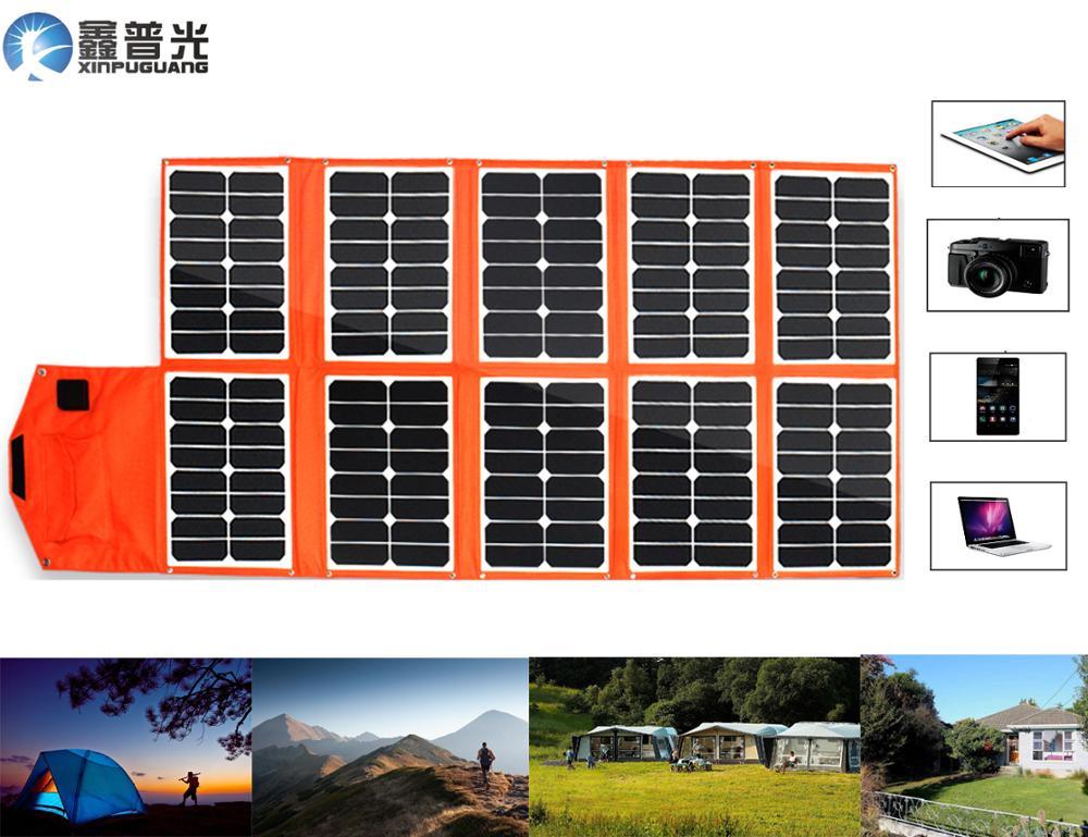 Xinpuguang 150W 16V plegable Panel Solar Flexible cargador portátil USB SISTEMA DE SALIDA DC para la batería de 12V teléfono Pad Camping bolsa