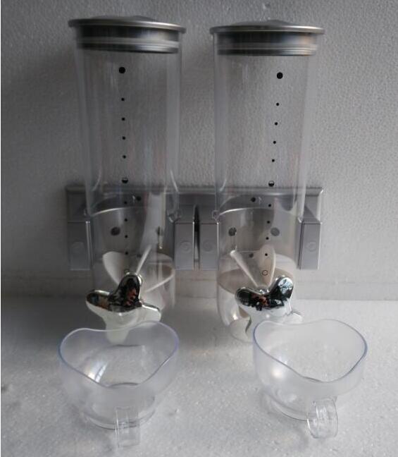2 * 1.5l hotel ou cozinha fixado na parede tampas duplas plástico cereais dispensador garrafas de armazenamento de alimentos com copos