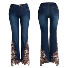 Marke Flare Hosen 2019 Dünne Hohe Taille Jeans Frauen Streetwear Perlen Stickerei Blume Blau Hosen Weibliche Süße Plus Größe 38