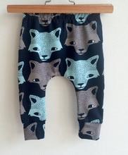 Mode Baby Hosen Baby Jungen Hosen Cartoon Tier Wolf Drucke Casual Baumwolle Harem Hosen 4-24M Elastische Infant kleidung Kleidung