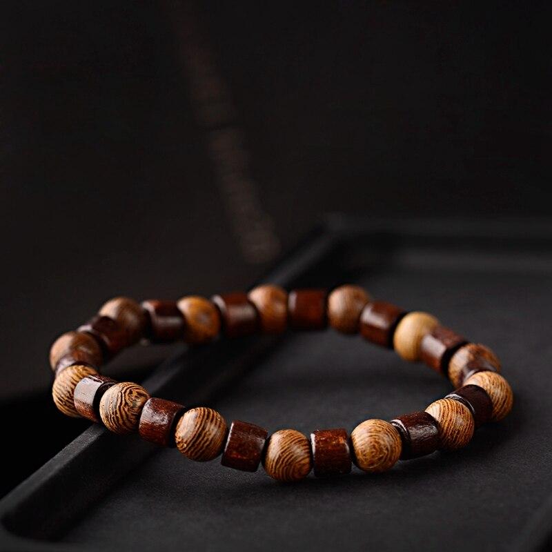 2019 Wooden Bracelet Homme Men Women Handmade Healing Balance Wooden Charm Stretch Bangle Jewelry Gift Pulsera Hombre Gifts