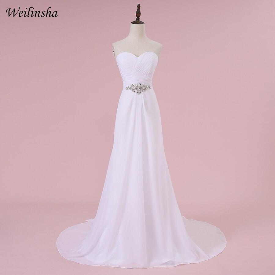 Vestidos de Casamento Chiffon a Linha Vestidos de Noiva Robe de Mariage em Estoque Weilinsha Romântico Querida Plissados Branco – Marfim