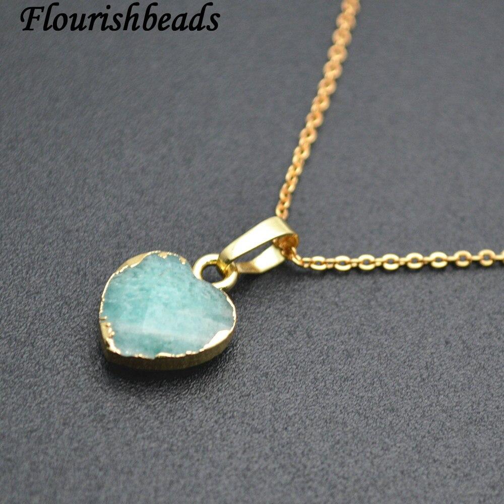 Amazonita natural facetado colgante corazón de piedra enlazado cadenas collar joyería de moda