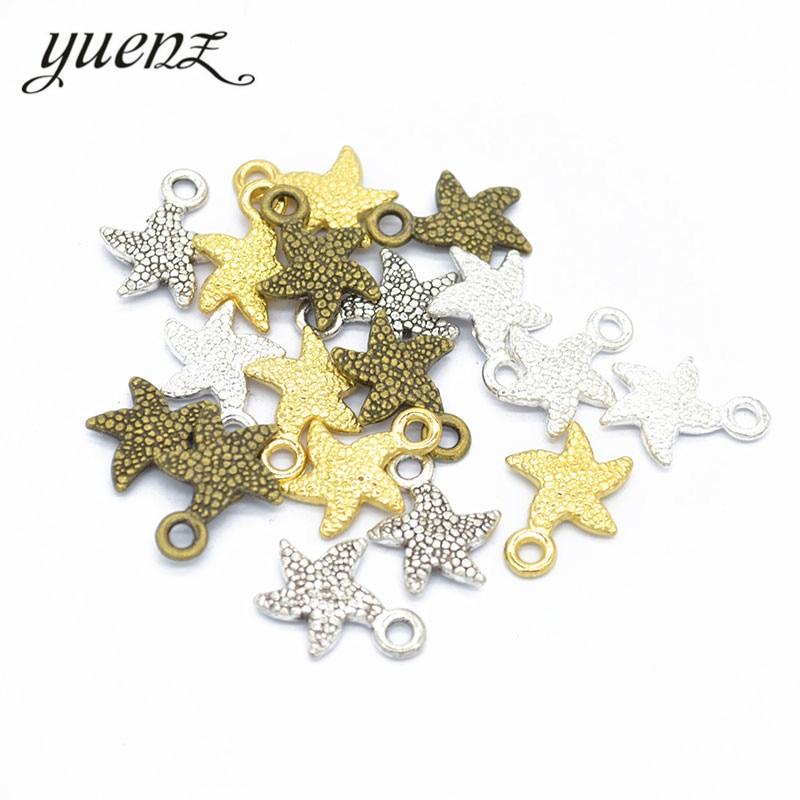 YuenZ 30 pcs Starfish Pingentes Encantos Fazer Jóias 17*13mm D791