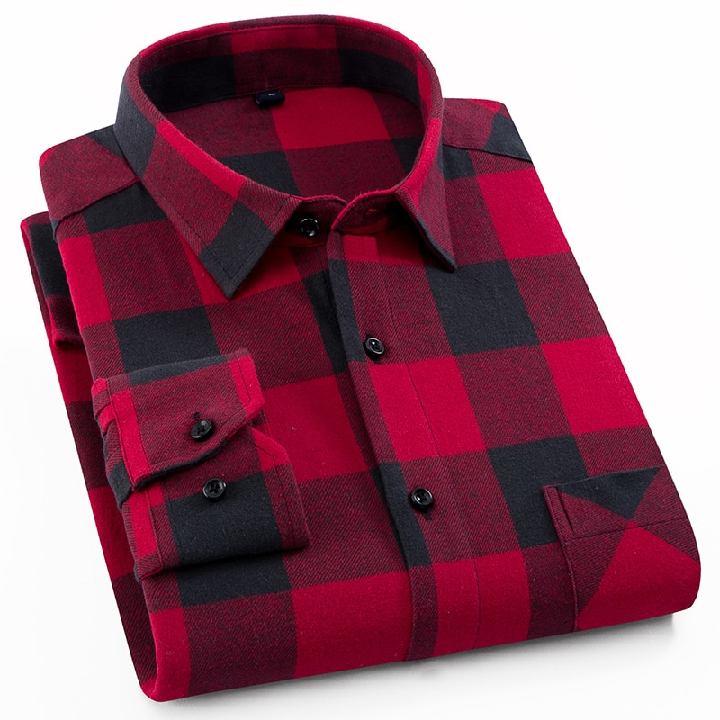 Men's Fashion 100% Cotton Brushed Flannel Shirts Single Pocket Long Sleeve Slim-fit Youthful Soft Casual Plaid Checkered Shirt