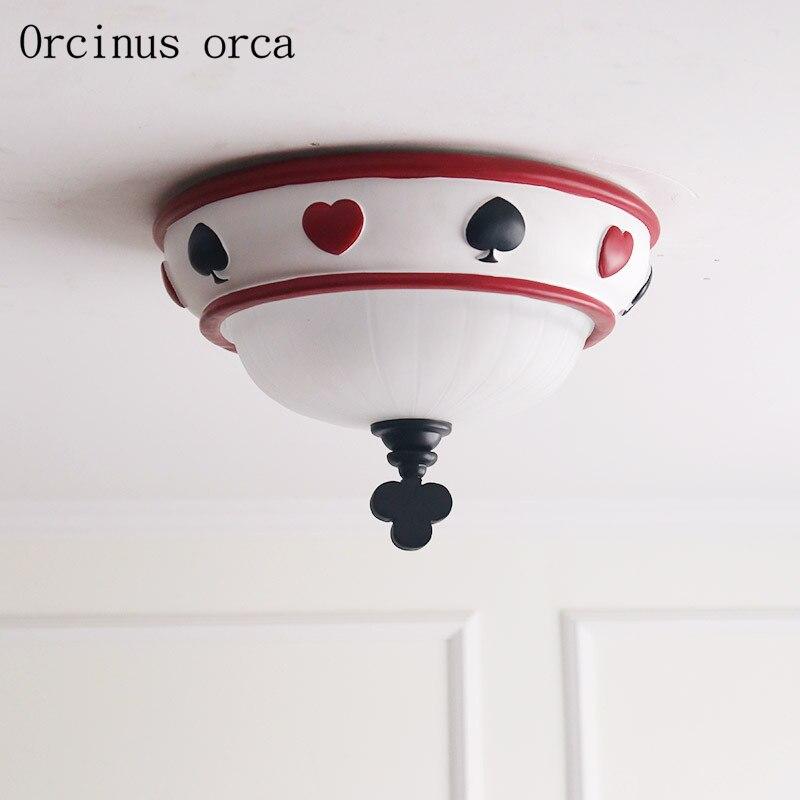 Lámpara de techo moderna americana de cuento de hadas habitación de niños personalidad creativa naipes lámparas de techo de cristal