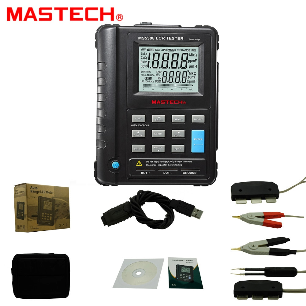 Mastech MS5308 مقياس قدرة دائرة التوالي المحمولة يده السيارات المدى مقياس قدرة دائرة التوالي عالية الأداء 100 KHZ