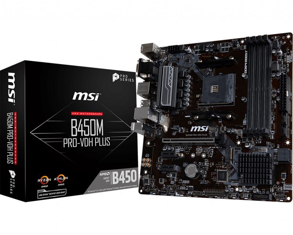 Новинка MSI B450M PRO-VDH PLUS настольная материнская плата DDR4 Socket AM4 64GB USB2.0 USB3.1 HDMI DVI VGA B450 материнская плата