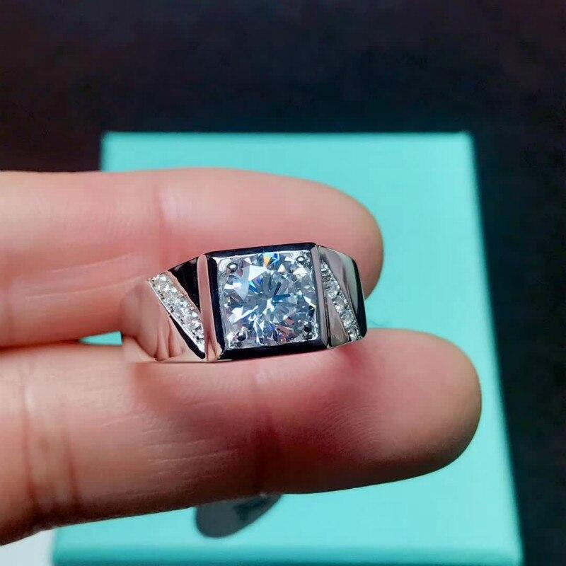 Anillos de Compromiso de moissanita cuadrados clásicos de 2 quilates, anillos de platino Chapado en plata esterlina 925 para hombres, Color D, claridad VVS1