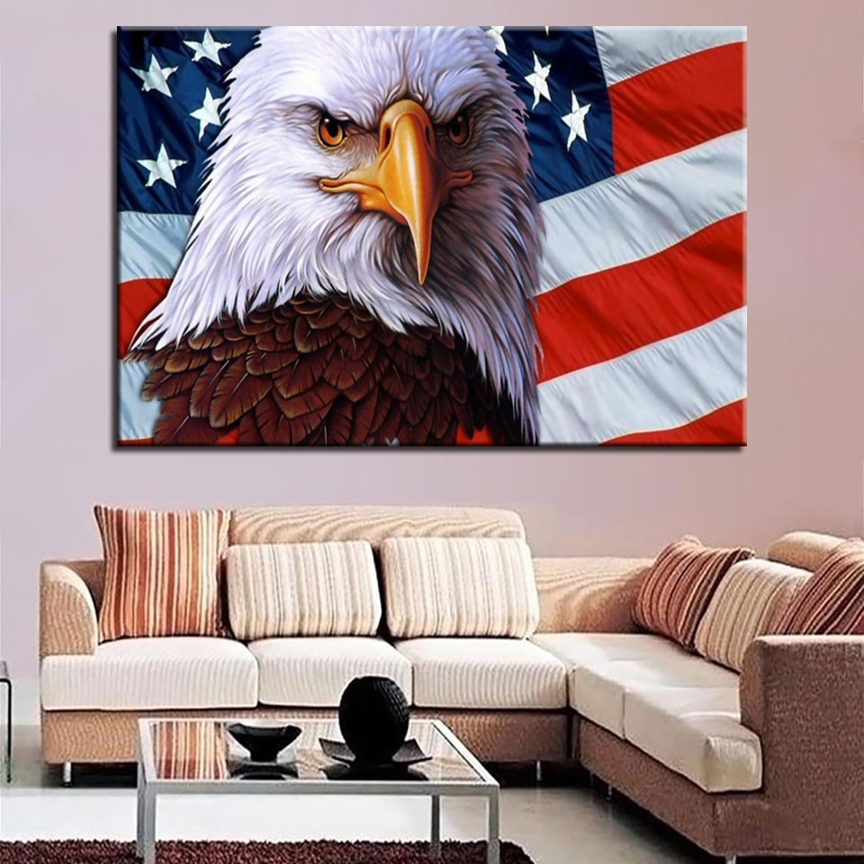Cuadros modulares impresos en HD para decoración del hogar, pintura de 1 pieza, bandera americana, águila, pared de salón, póster, marco moderno de lienzo