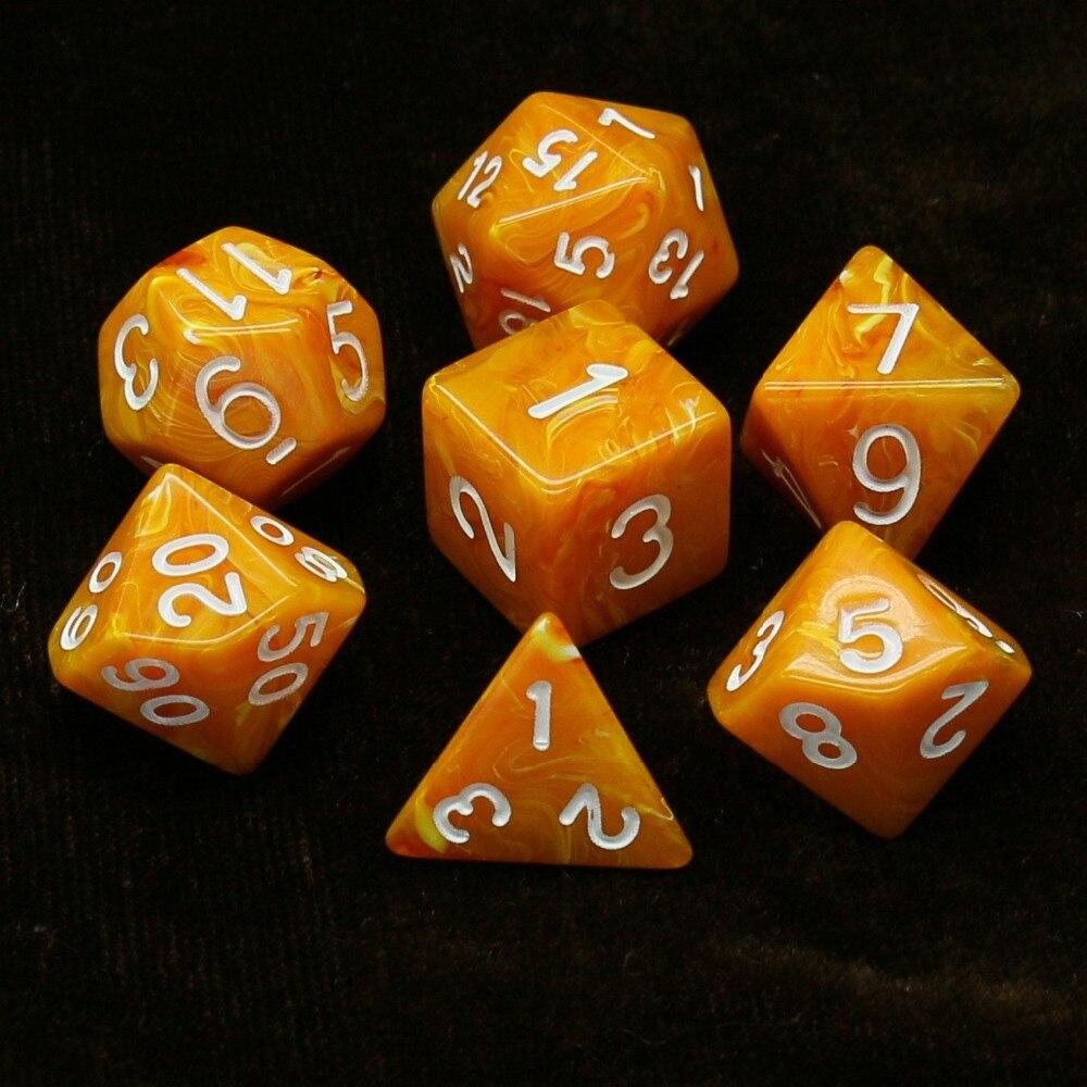 Juego de dados 7 unids/set d & d d4 d6 d8 d10 d % d12 d20 juego de dados TRPG poliédricos para juegos de mesa