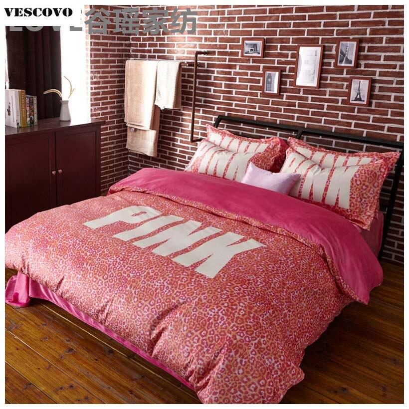 Juego de ropa de cama VS Pink 4 Uds para niñas, juego de fundas de edredón, fundas de almohada de sábana plana de leopardo y terciopelo, ropa de cama Queen