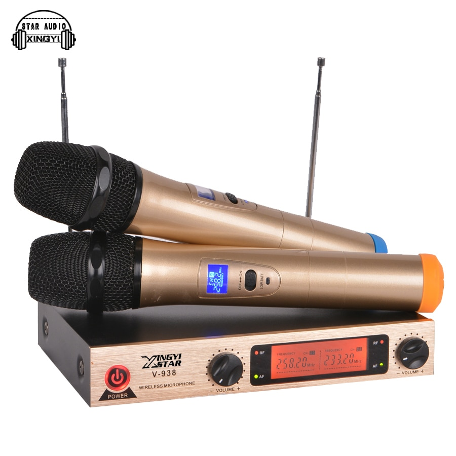 Professional Karaoke Wireless Microphone System V938 Dual Metal Handheld Cordless Mic 2 Channel LED Display Transmitter Receiver