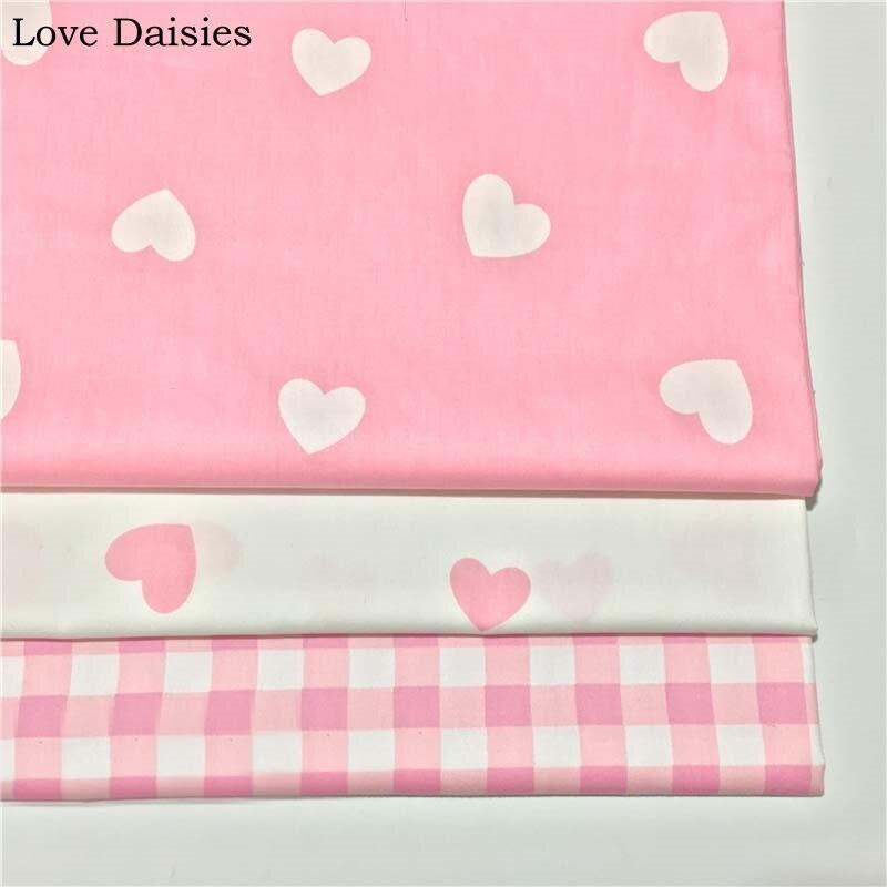 100% algodão branco rosa grande coração forma treliça verificação chevron sarja tecido para diy crianças roupa de cama folha vestido artesanato decoração