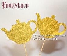 Théières de thé dorées à paillettes   12 pièces, tasse de thé, Toppers de Cupcake cueillette réception-cadeaux pour bébé, kits de décoration de fête Alice au pays des merveilles dun côté