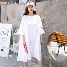 SHILO GO femmes robe 2020 été blanc lettre imprimé T-shirt robes Asymmertriacl femmes demi manches décontracté ample brève robe