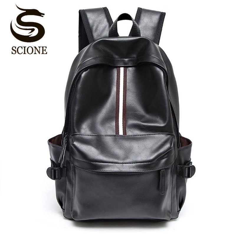 Scione Brand Leather Backpack PU Couple Backpack School Bag for Teenager Girls Boys Travel Rucksack College Men Women Backpacks