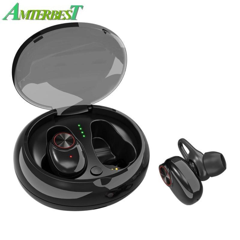 AMTERBEST inalámbrico Bluetooth V5.0 + EDR auriculares de sonido estéreo micrófono incorporado llamadas manos libres TWS Auriculares auriculares deportivos