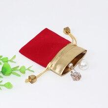 100 pcs/Lot 7*9 cm bijoux pochettes velours cadeau sacs faveurs de mariage anneau Bracelet pendentif collier stockage cordon étui