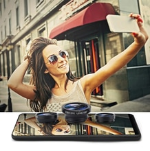 Universal gran angular Macro lente de cámara Ojo de pescado Kits Selfie teléfono móvil lentes de ojo de pez ajuste para todas las Accesorios para teléfono móvil