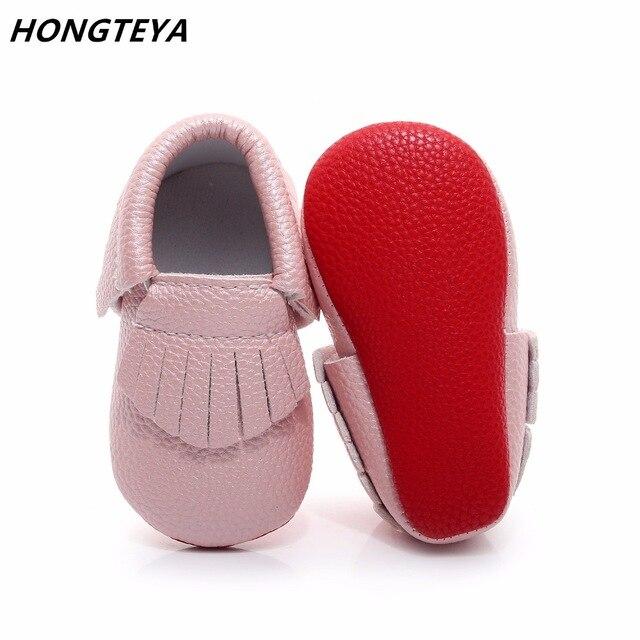 Honteya, fondo rojo cuero PU para recién nacido, zapatos para niñas, bonitas borlas, primeros pasos, mocasines para bebé Niño 0-2T, zapatos para niños pequeños