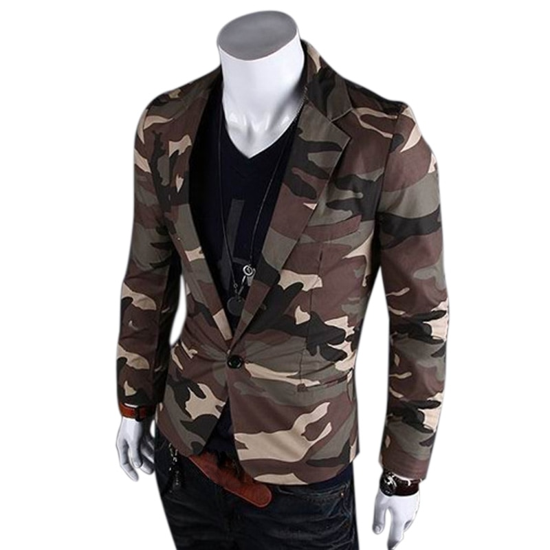 Fashion Spring Men Blazer Slim Fit Suit Jacket Camouflage Style Casual Single Button Coat Tops H9