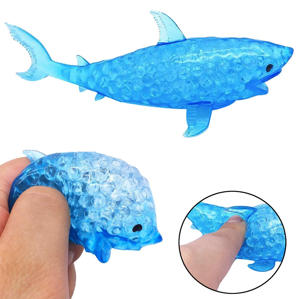 Juguetes esponjosos antiestrés Squishy, juguete pelota de estrés con cuentas de tiburón, juguetes Squishy Kawaii para niños, bola para aliviar el estrés
