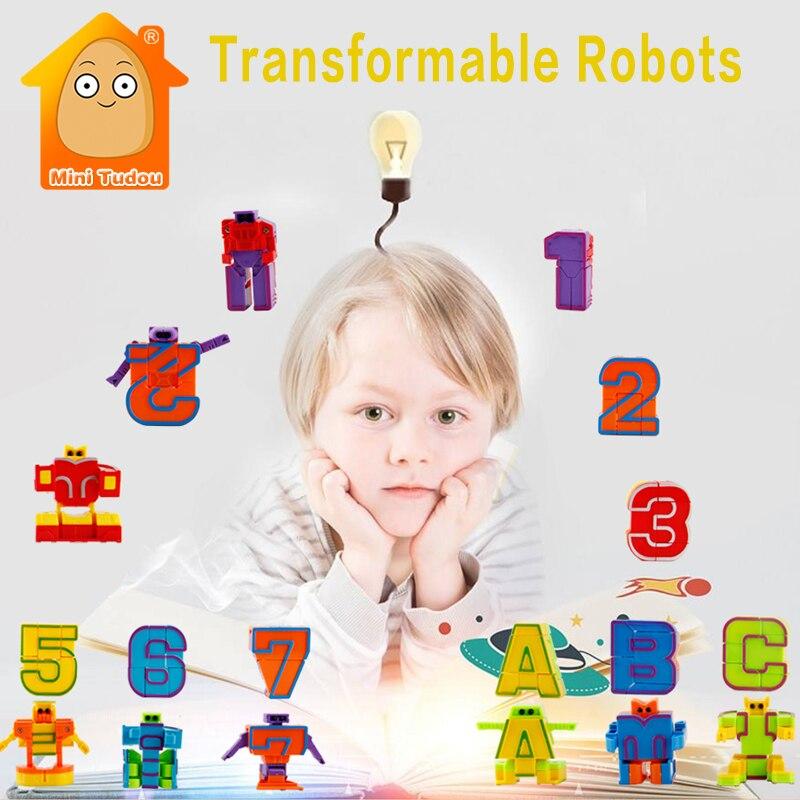 Assembling Building Blocks Educational Toys Action Figure Transformation Letters Number Robot Deformation Robot Toy for Children