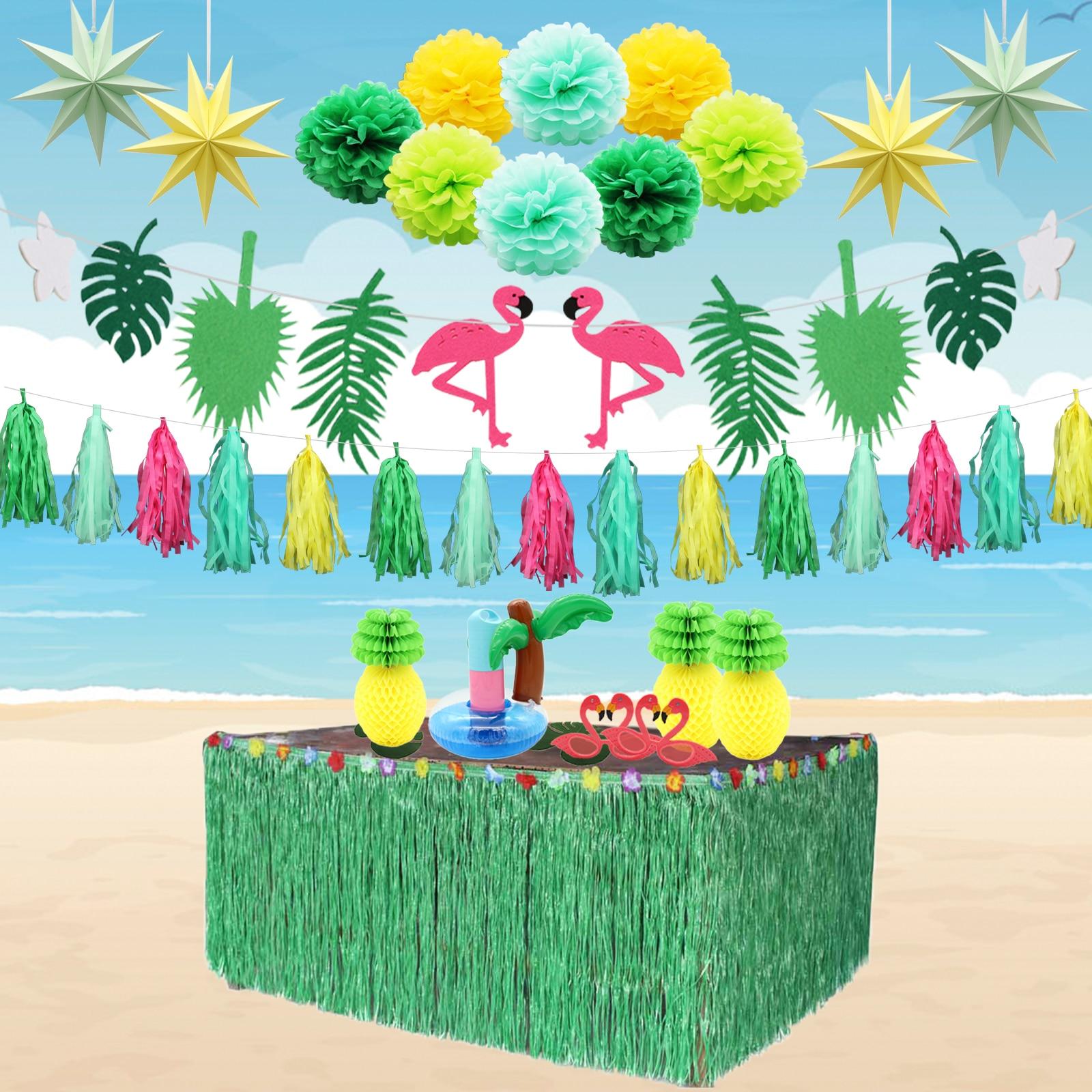 Decoración Para fiesta hawaiana globos metalizados de flamencos DIY boda novia nupcial Baby Shower cumpleaños para playa verano fiesta suministros