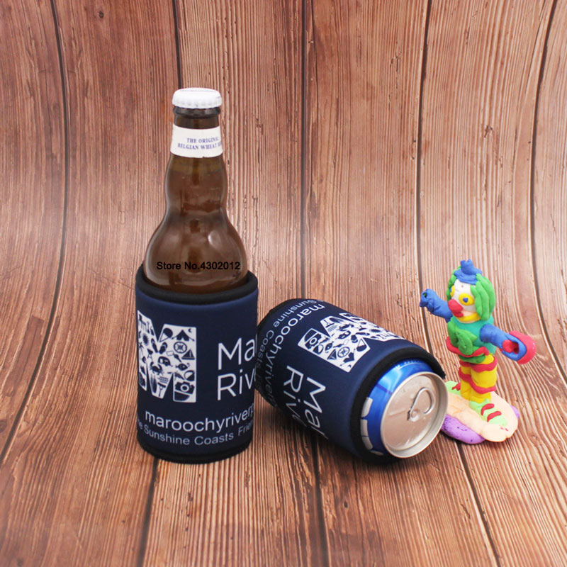 250pcs/lot Custom Printed Logo Beer Can Cooler Picnic Bags With Bottom Stubby Holders Wedding Gifts Beer Bottle Cooler Cover