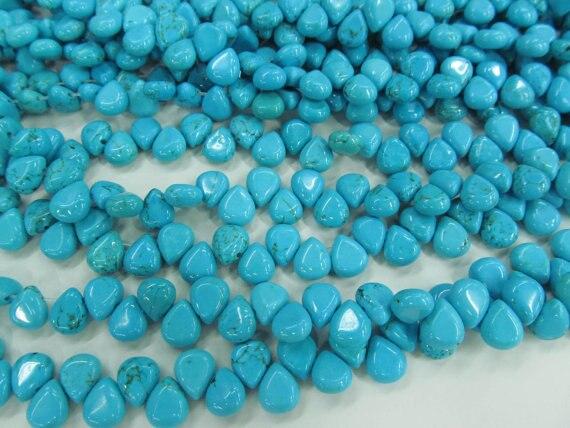 توب حفر-2 السواحل 7x10 مللي متر جودة عالية الفيروز الأحجار الكريمة دمعة قطرة الأزرق فضفاض حبة