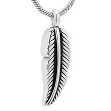 IJD10023 pendentifs durne de plume dacier inoxydable pour les bijoux de crémation de souvenir humain gravables par cendres pour des femmes