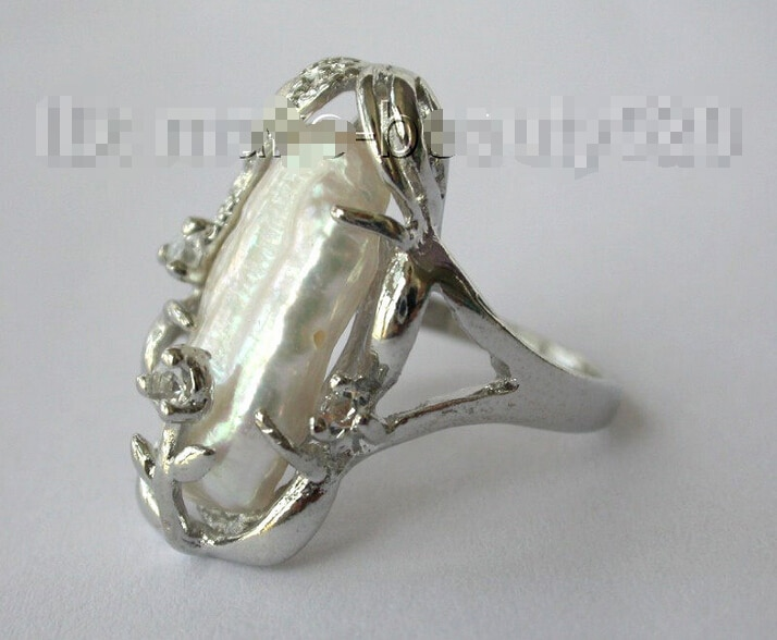 Envío Gratis >>>>>> impresionante Gran 25mm blanco barroco biwa agua dulce cultivado anillo de perlas s633