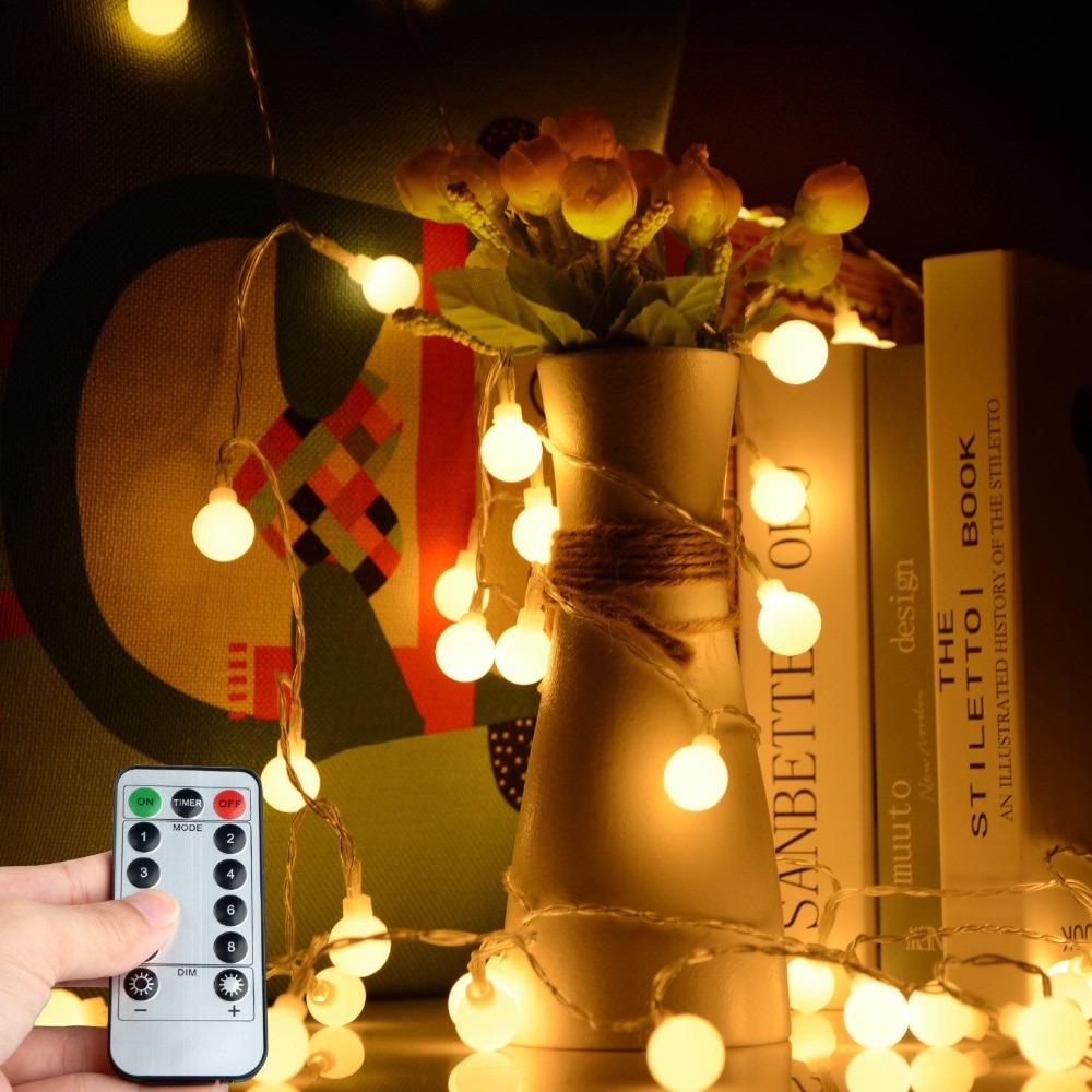 Светодиодная сказочная светодиодная гирлянда Шариковая лампочка AA на