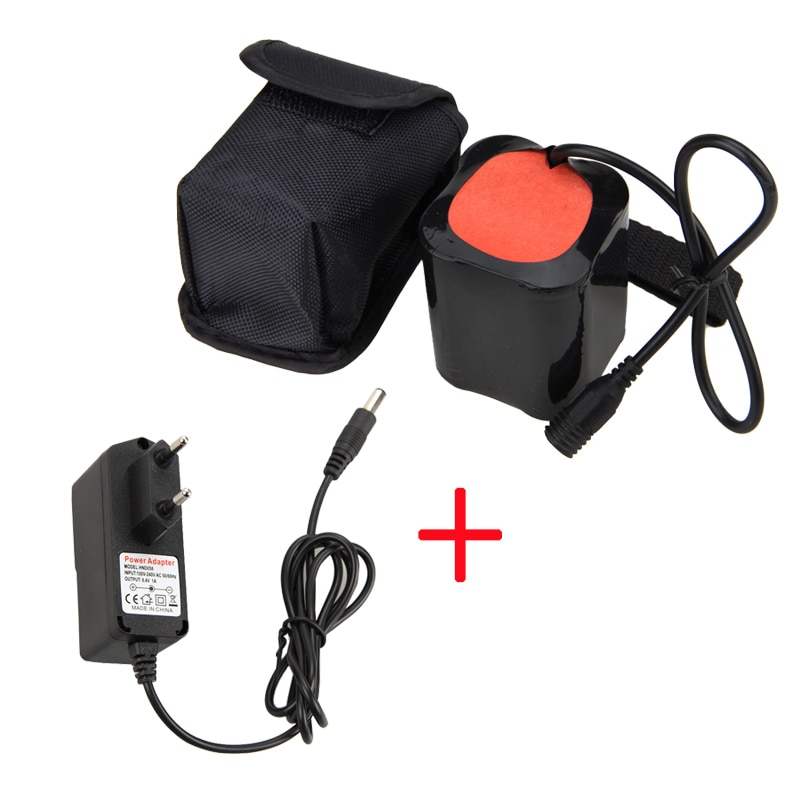 20000 mah 8.4 v bateria para t6 led bicicleta luz cabeça tocha lâmpada + carregador
