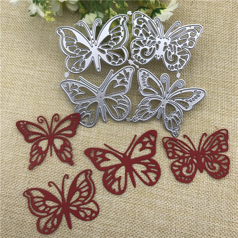 4pcs butterfly Metal Cutting Dies for DIY Scrapbooking Album Paper Cards Decorative Crafts Embossing