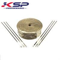 Kingsun 1''x50' Titanium Heat Exhaust Manifold Header Downpipe Heat Wrap Thermal Tape & Stainless Ties