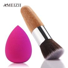AMEIZII 1 Pcs Bambus Make-Up Pinsel Tragbare Flache Top Blush Pinsel Lose Powder Foundation Lidschatten Exquisite Kosmetik Werkzeuge