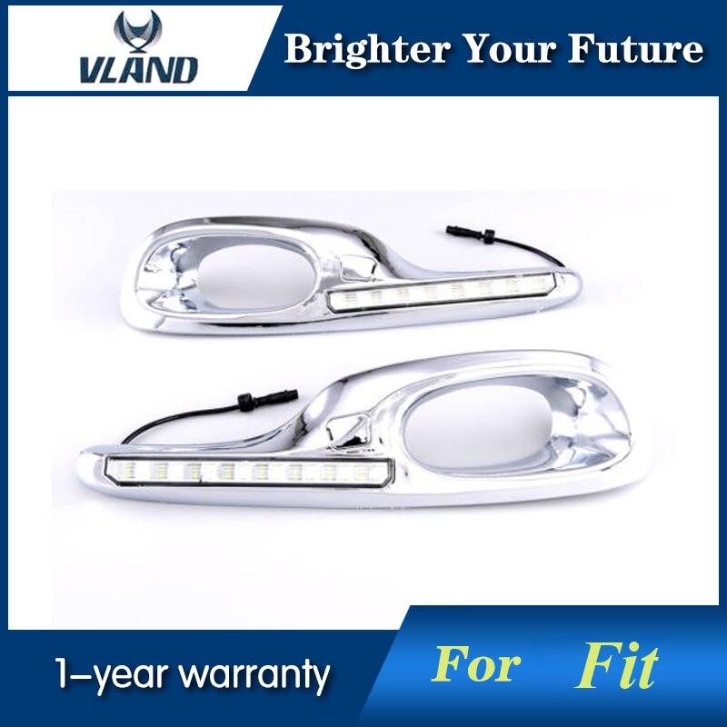 Luzes Diurnas de LED DRL Amarelo Por Sua Vez a Luz do Sinal para Honda Fit Jazz 11 ~ 13 Dia virando sinal de Luz luzes