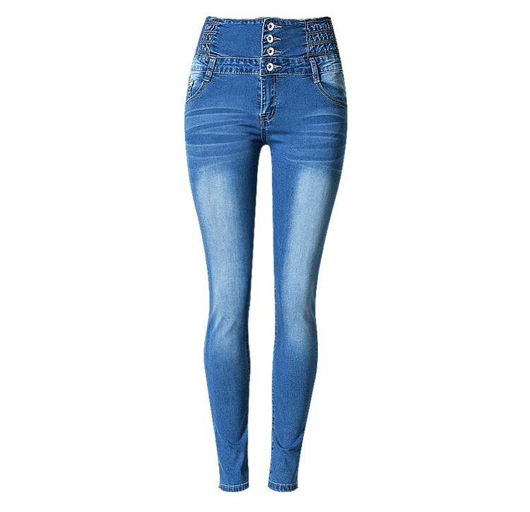 Algodón Denim de cintura alta Pantalones vaqueros de moda para mujer Slim Fit pantalones lápiz las mujeres Plus tamaño Skinny apretados Jeans Pantalones