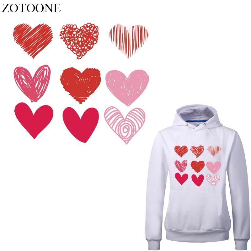 ZOTOONE 9 unids/set Parche de corazón Transferencia de Calor pegatinas de vinilo para ropa DIY camiseta apliques rayas en la ropa prensa térmica