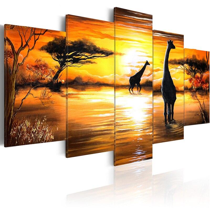 5 unids/set de pintura de estilo del sudeste asiático, pintura impresa en lienzo, arte de la pared, decoración del hogar, sala de estar, arte en lienzo