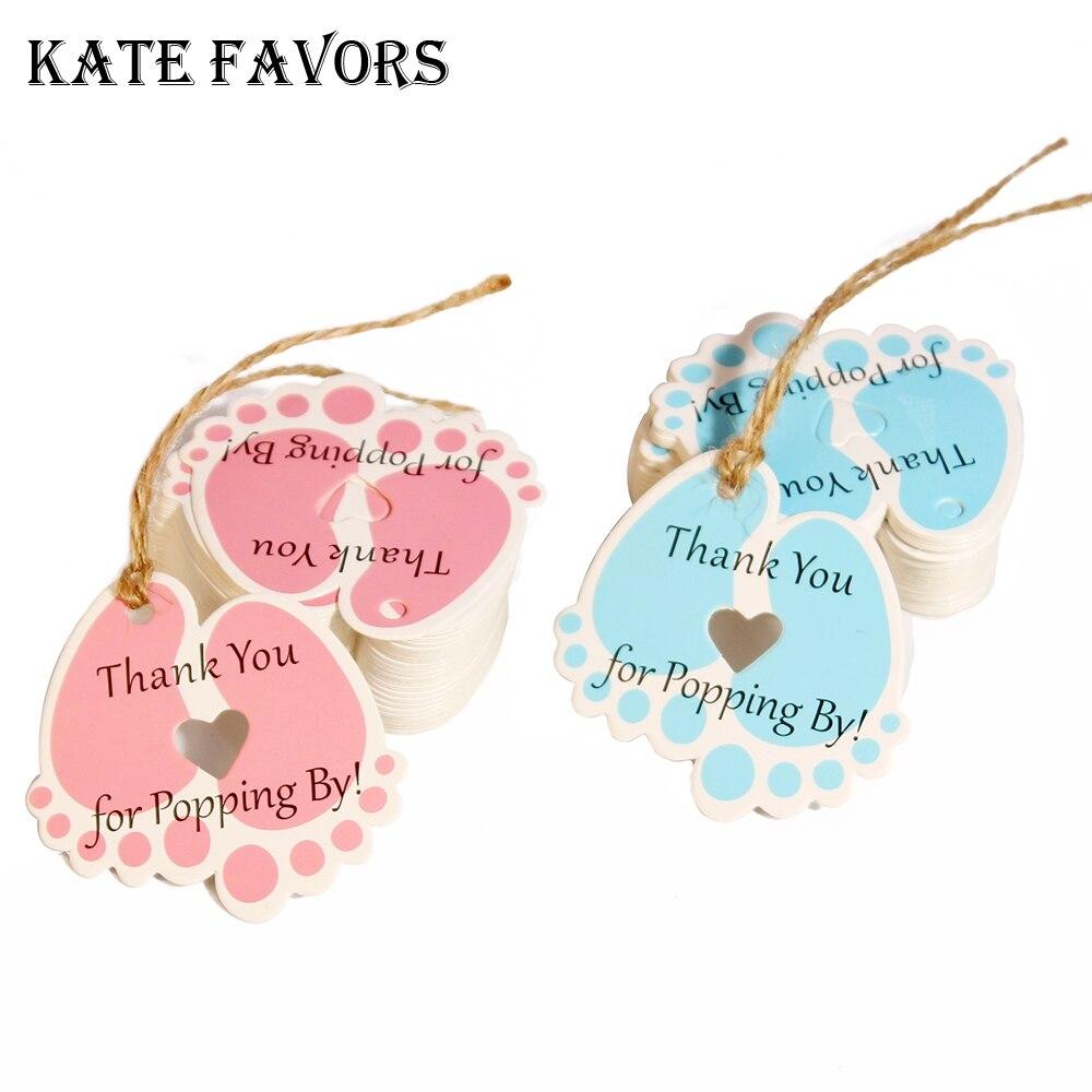 """50 Uds. Etiquetas de regalo para Baby Shower """"Thank You For Popping By"""" etiquetas pequeñas rosas, etiquetas para colgar en papel Kraft, etiquetas para pies de bebé con hilo de yute"""