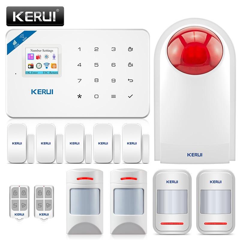 KERUI WI8 WIFI GSM Burglar Security Alarm System anti-pet motion detector door sensor wireless siren