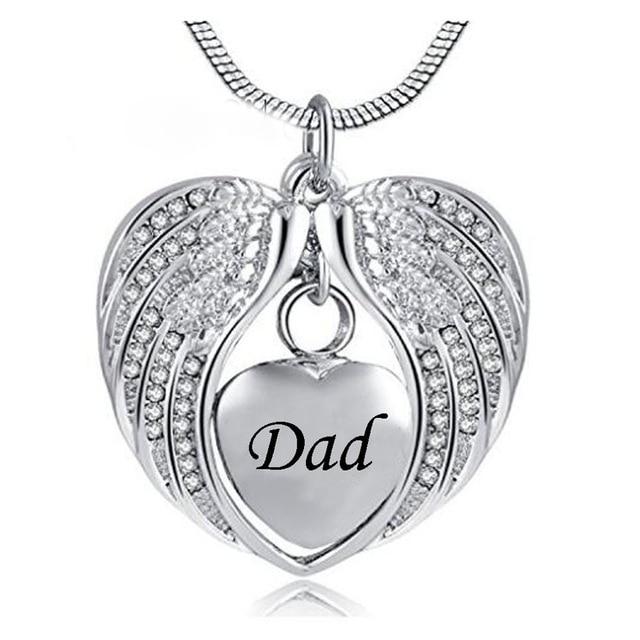 JJ001 anioł skrzydło trzymaj serce urna kremacyjna naszyjnik-grawerowanie mama/tata/syn pamiątka pamiątkowa biżuteria na popiół