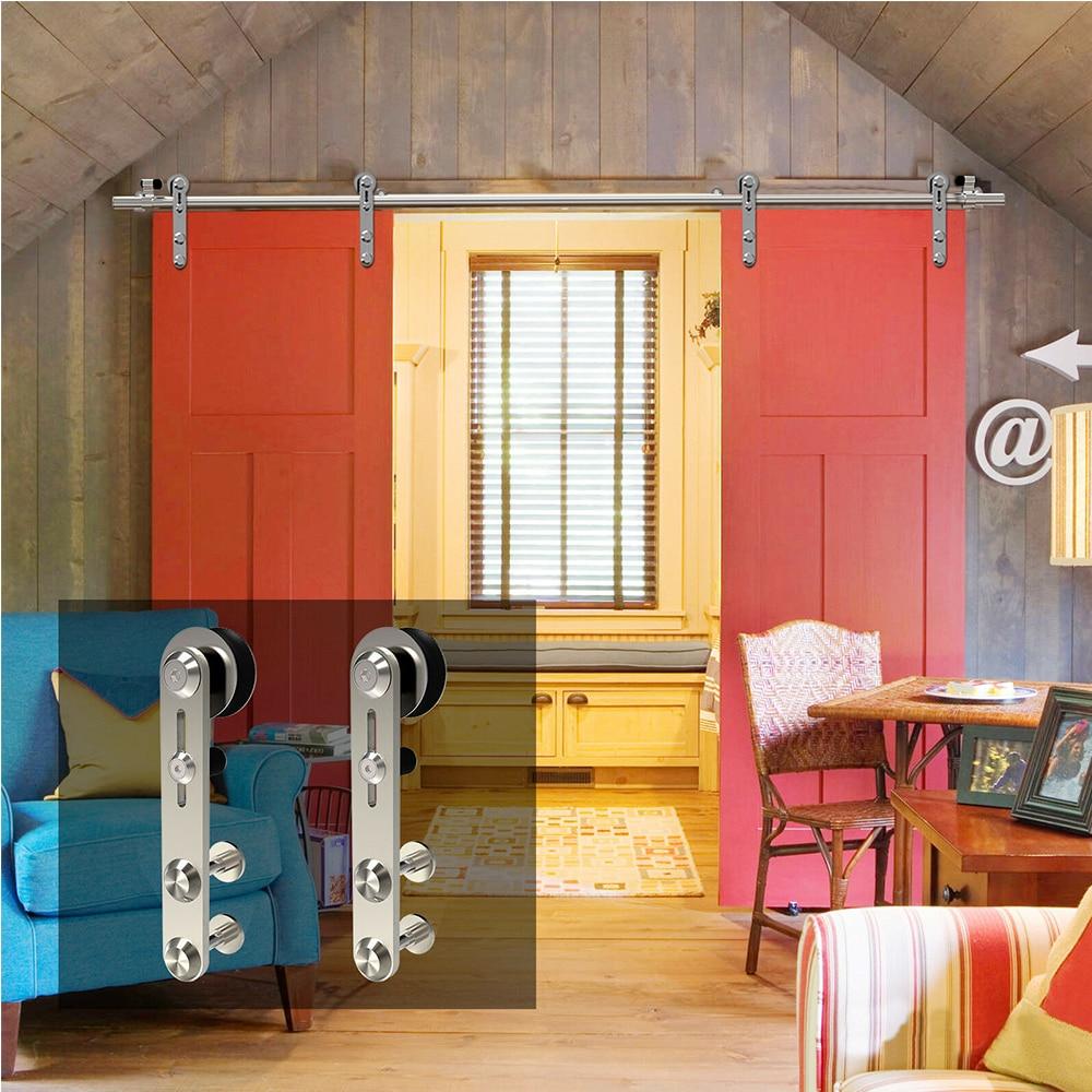 LWZH4-9.6FT круглая Серебристая нержавеющая сталь, деревянная и стеклянная раздвижная дверная фурнитура, набор для двойных дверей