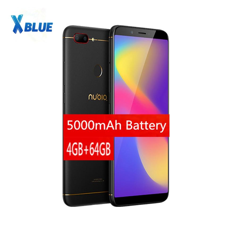 ZTE Nubia N3-smartphone, Original, 4GB de RAM, 64GB de ROM, 6,01 pulgadas, 5000mAh, Snapdragon 450 Octa Core, cámara trasera Dual, identificación de huellas dactilares