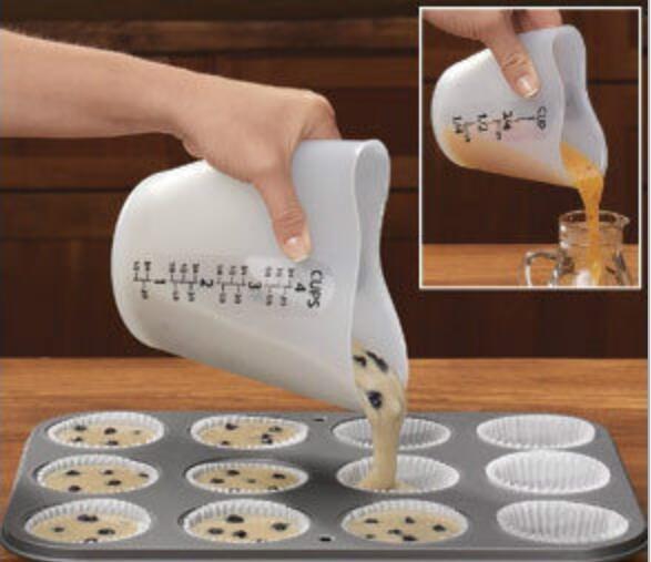 Silicone copo de medição coração copos de café cozinha escalas ferramentas de cozimento bolo pizza biscoito torta fazendo acessórios gadgets cozinha
