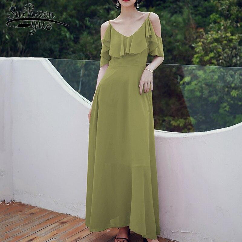 Vestidos de verano 2020 Seaside vestido largo para vacaciones de gasa de la correa de vestido de color sólido sexy sin espalda beachdress 3297 50