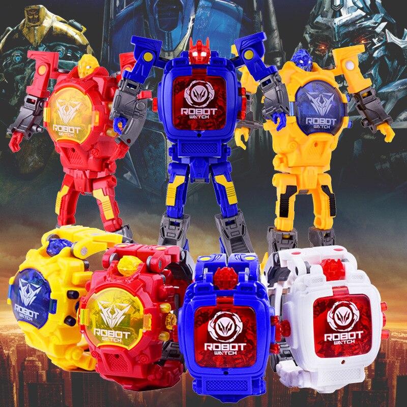 Деформационный робот, детские часы, Трансформеры, электронные детские часы, детские развивающие игрушки, детские цифровые часы, часы для ма...